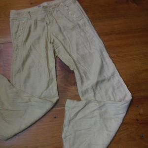 LEVEL 99 Yellow Linen Wide Leg Sailor Pants 28